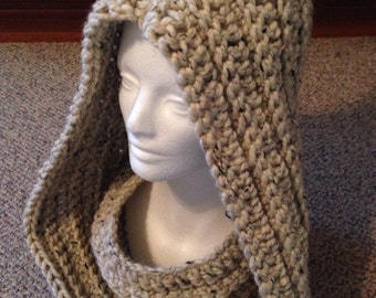 Hooded Cowl, Hand Crochet, Central Park Infinity Scarf in Oatmeal, Cream