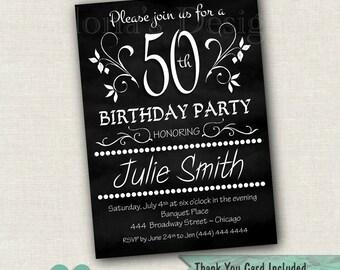 Adult Birthday Invitation - Chalkobard Invitation - 30th, 40th, 50th, 60th Birthday
