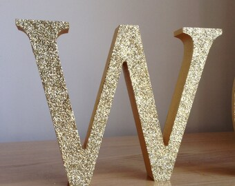 """5"""" Gold Glitter Letters, Gold Wooden Letters, Freestanding/Standalone Gold Letters, Personalised Glitter Letters"""