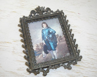 italian metal picture frame with picture - antiqued brass filigree wall hanging in blue gray tones - shabby cottage chic - hollywood regency
