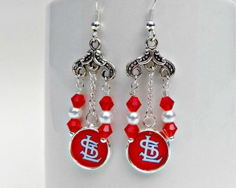 St. Louis Cardinals Jewelry, St. Louis Cardinals Earrings, Cardinals Fan Wear, Cardinals Bling, Baseball Mom, Cardinals Accessories, Fanwear