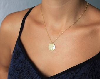 Hammered Disc Necklace, Circle Necklace, Layer Necklace, Dainty Necklace, DIsc Pendant Necklace,