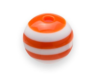 150 Orange STRIPED Beads 8mm Round Resin H479