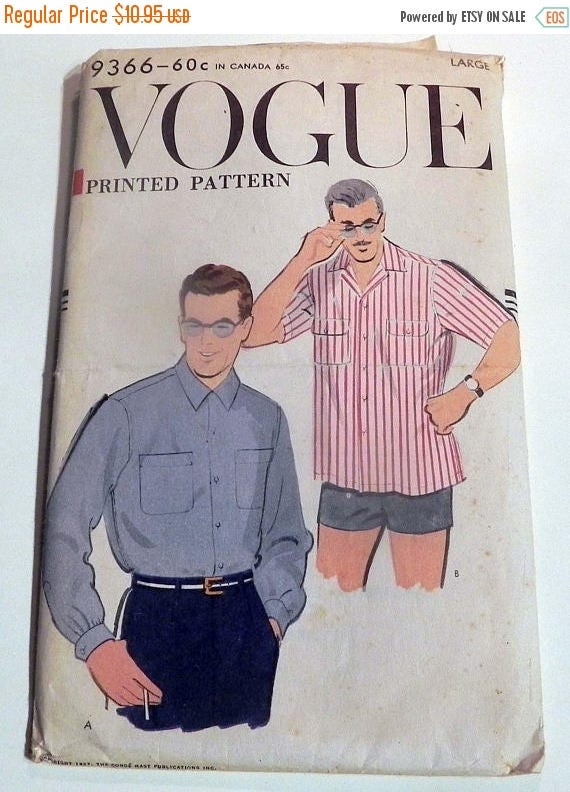 Men's Vintage Reproduction Sewing Patterns SALE 1950s Mens Shirt Sport short long sleeve Rockabilly casual sewing pattern Vogue 9366 Size Large Neck 16 16.5SALE 1950s Mens Shirt Sport short long sleeve Rockabilly casual sewing pattern Vogue 9366 Size Large Neck 16 16.5
