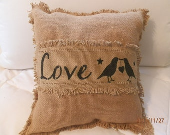 "Burlap Decorative Toss Pillow ""Love"" with Fringes and ""Love Crows'' 12""x12"""