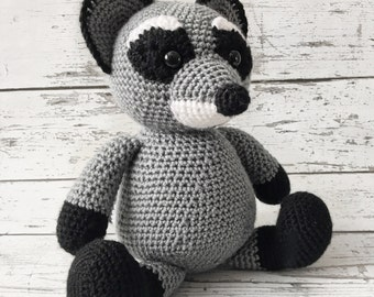 Scamp the Raccoon, Crochet Raccoon, Stuffed Animal, Raccon Amigurumi, Plush Animal, MADE TO ORDER