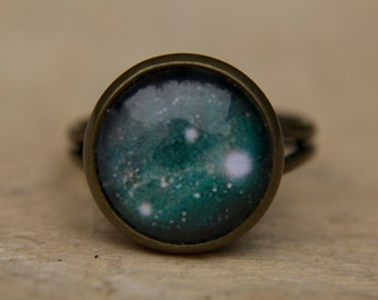 Green Galaxy Ring, Green Ring, Space Ring, Universe Jewelry, Glass Dome Ring, Adjustable Ring, Statement Ring