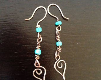 Pair of copper and turqoise earrings