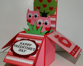 Happy valentine's day, Owls  handmade 3D pop up greeting card