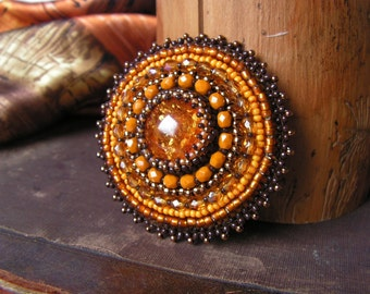Bead embroidery Brooch Beadwork Brooch Amber Honey Yellow Brooch Bead embroidered jewelry Cabochon Brooch Spring jewelry MADE TO ORDER