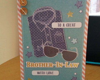 Brother In Law Birthday Card - luxury quality bespoke UK handmade