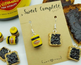 Vegemite and Toast Australian breakfast mismatch dangle earrings