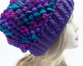 Women's Crochet Slouchy Hat in Purple, Green and Pink Puff Stitch, Warm Winter Slouchy Hat in Purple Variegated with Free US Shipping
