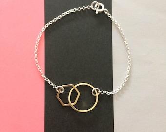 Geometric Loop Bracelet - Circle and Hexagon Bracelet- Hoop and Hexagon Bracelet-Geometric Linked Bracelet