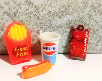 Vintage Fast Food Charms Plastic French Fries Hot Dog Soda Apple Pie