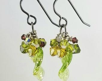 SALE! Green Leaf Cluster Earring