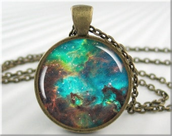 Nebula Pendant Necklace, Resin Jewelry Charm, Hubble Space Nebula Jewelry, Heavenly Picture Pendant, Round Bronze Pendant 442RB