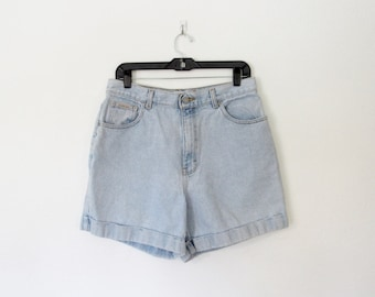 Calvin Klein Jean Shorts / Cuffed Light Blue Denim / Womens Vintage 1990s CK Shorts