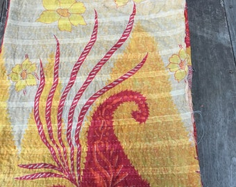 Kantha Quilt - Red and Gold Floral