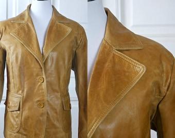 womens leather jacket swedish vintage camel color leather coat european butterscotch tan short leather - Camel Color