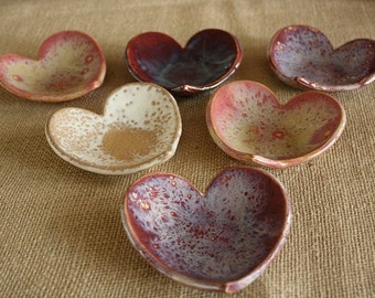 Heart Shaped Ceramic Catch All Bowl Soap Dish or Jewelry Holder