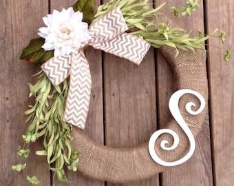 Burlap Wreath with Greenery, Burlap Chevron Bow and Burlap Flower