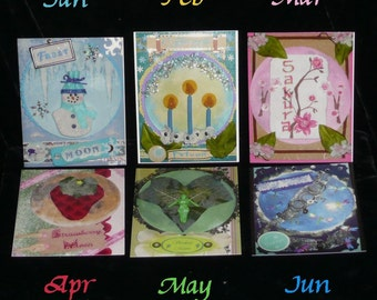 FAIRY MOON Set of 6 POSTCARDS January to June
