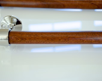 Polished Stainless Steel and Honduran (Genuine) Mahogany Towel Bar