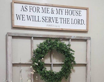 12x36 As For Me and My House We Will Serve the Lord Sign,Joshua 24:15,Wood Signs,Home Decor,Farmhouse Style Signs,Bible Verse,Rustic Decor