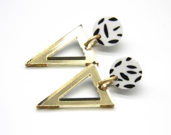 Paddington Laser Cut Acrylic Triangle Dangle Earrings - Various Colours