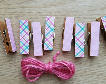 Preppy Easter Spring Plaid and Pink Polka Dots, Clips w Twine for Photo Display, Chunky Little Clothespin Clothesline Set of 12