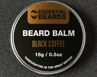 Beard Balm, Beard Softener, Beard Care, BLACK COFFEE, Rich, Fresh, Eye Opening, Handmade in the UK by Essential Beards, Beard Condition 5g