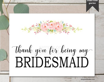 5x7 Folded Cards, Bridesmaids Thank You Cards, Bridesmaid, Maid of Honor, DIY Wedding, (4) PDF's, Instant Download, Printable File