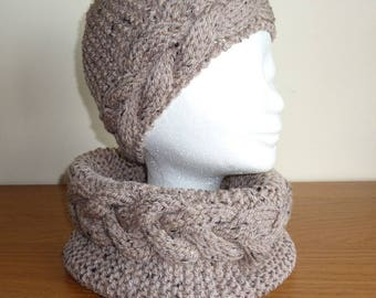 Hand knitted wool snood Cap