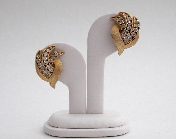 Vintage Crown Trifari Gold Rhinestone Earrings - Vintage 1960s Clip Earrings Signed Crown Trifari
