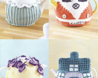 Instant Download - PDF- Pretty Tea Pot cosy  Knitting and Crochet Pattern (H15)