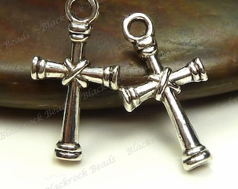 Bulk 30 Cross Charms (Double Sided) 20x10mm Antique Silver Tone Metal -  Wholesale - BM12