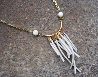 Eco-Friendly Statement Necklace - Fringe Elements - Recycled Vintage Goldtone Foldover Chain, Curved Bar, Off-White Suede Dangles & Beads