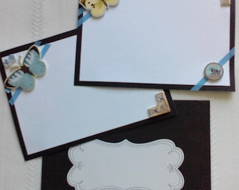 Embellished On-Sided Butterfly Notecards - Set of 4