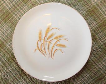 """Vintage Golden Wheat Dish Homer Laughlin White Dinner Plate 22k Gold 9"""""""