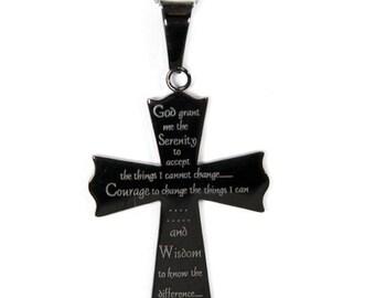 Serenity Prayer Pendant Stainless Steel Cross Necklace, Serenity Prayer Gifts, Necklace For Women, Gifts For Women