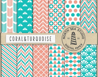 COLOR INSPIRATION | Coral And Turquoise Digital Paper Pack | Scrapbook Paper | Printable Backgrounds | 12 JPG, 300dpi Files | BUY5FOR8