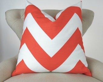 Orange Chevron Floor Pillow - up to 28x28 inch- Big Orange & White Cushion, Tangerine Zigzag Pillow Cover,  Zippy Tangelo Premier Prints
