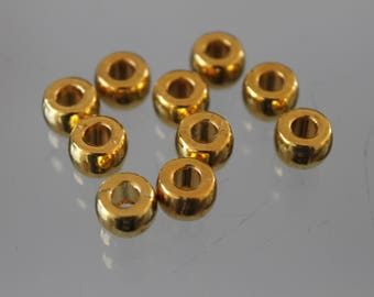 10 Pearl - silver - 8 mm round gold metal