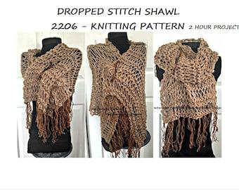 knit shawl pattern, KNITTING PATTERNS, Knit Shawl, 2 hour project, Women's clothing, knit wrap, easy beginner level, #2206K