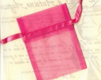 20 x ORGANZA SACHETS ❀ PINK / pink bright 7.5x10cm - MAT1243 ❀