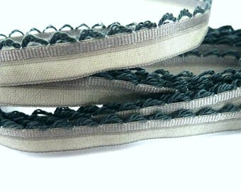 1 meter of grey satin ribbon with lace - 1 T 12 cm