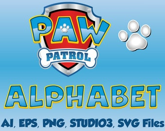 Logo Paw patrol, Inspired alphabet, By ©Disney, capital letters, numbers, and symbols, create your own logo, AI, eps, SVG, PNG, studio3