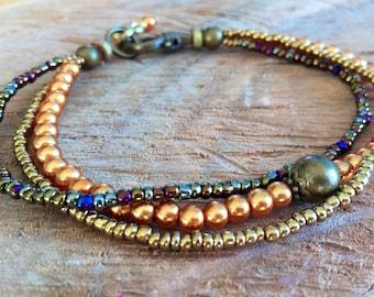Anklet, boho ankle bracelet, three strand anklet, pearl ankle bracelet, gypsy hippie anklet, beach anklet, jewelry boho anklet beach jewelry