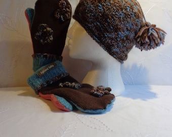 Hat and Mitten Set, Winter Hat, Hat With Tassels,  Women Hat, Blue Hat, Brown Hat, Recycled Mittens, Repurposed Mittens, Sweater Mittens